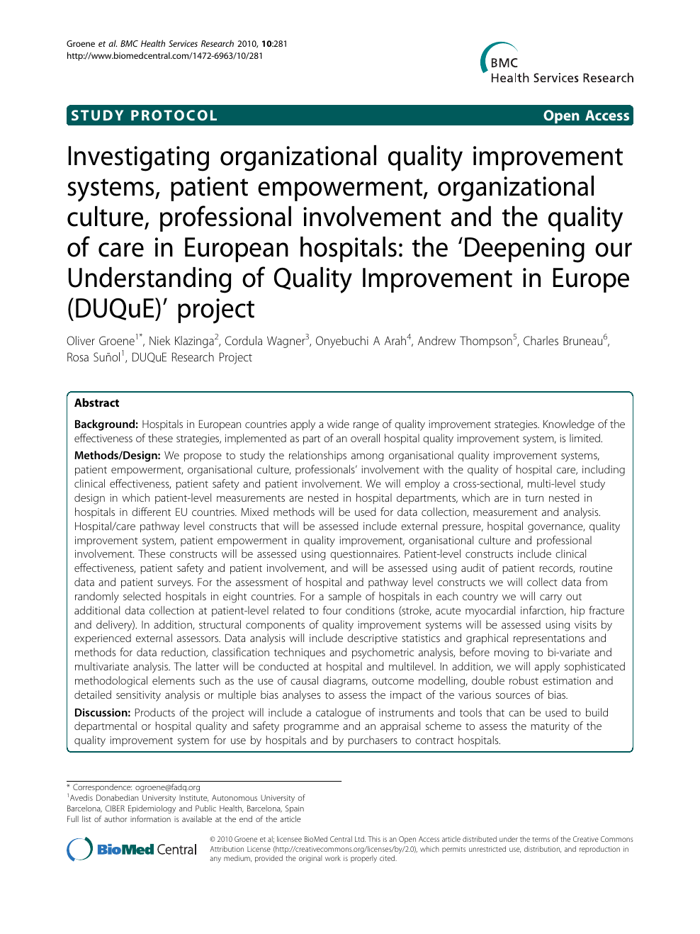 Investigating organizational quality improvement systems, patient