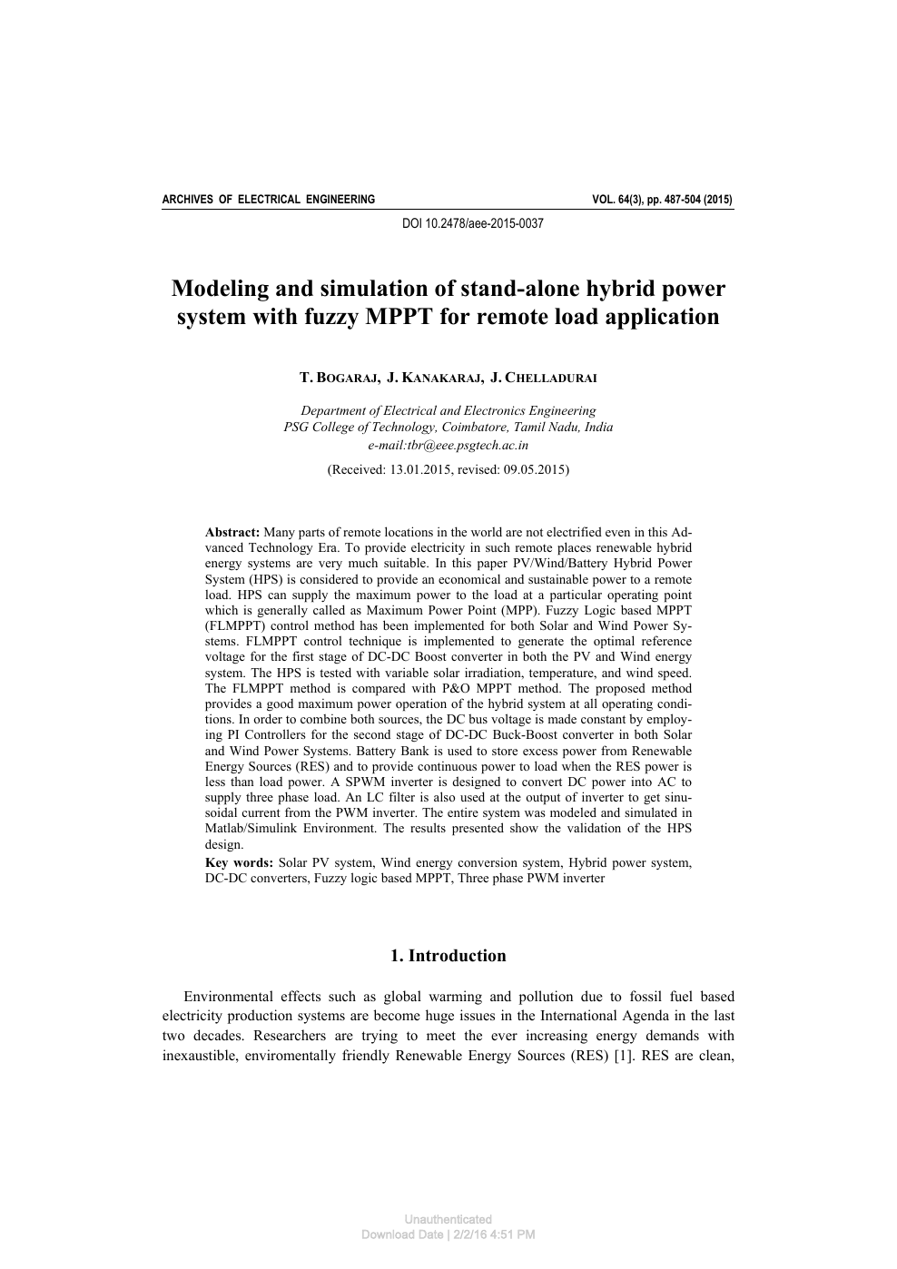 Modeling and simulation of stand-alone hybrid power system