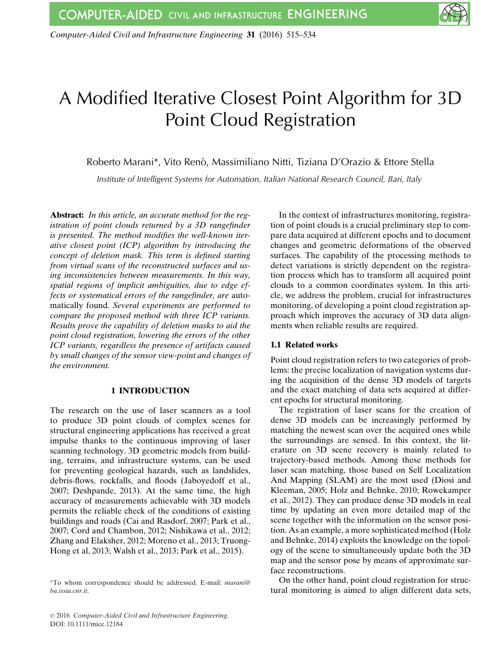 A Modified Iterative Closest Point Algorithm for 3D Point Cloud