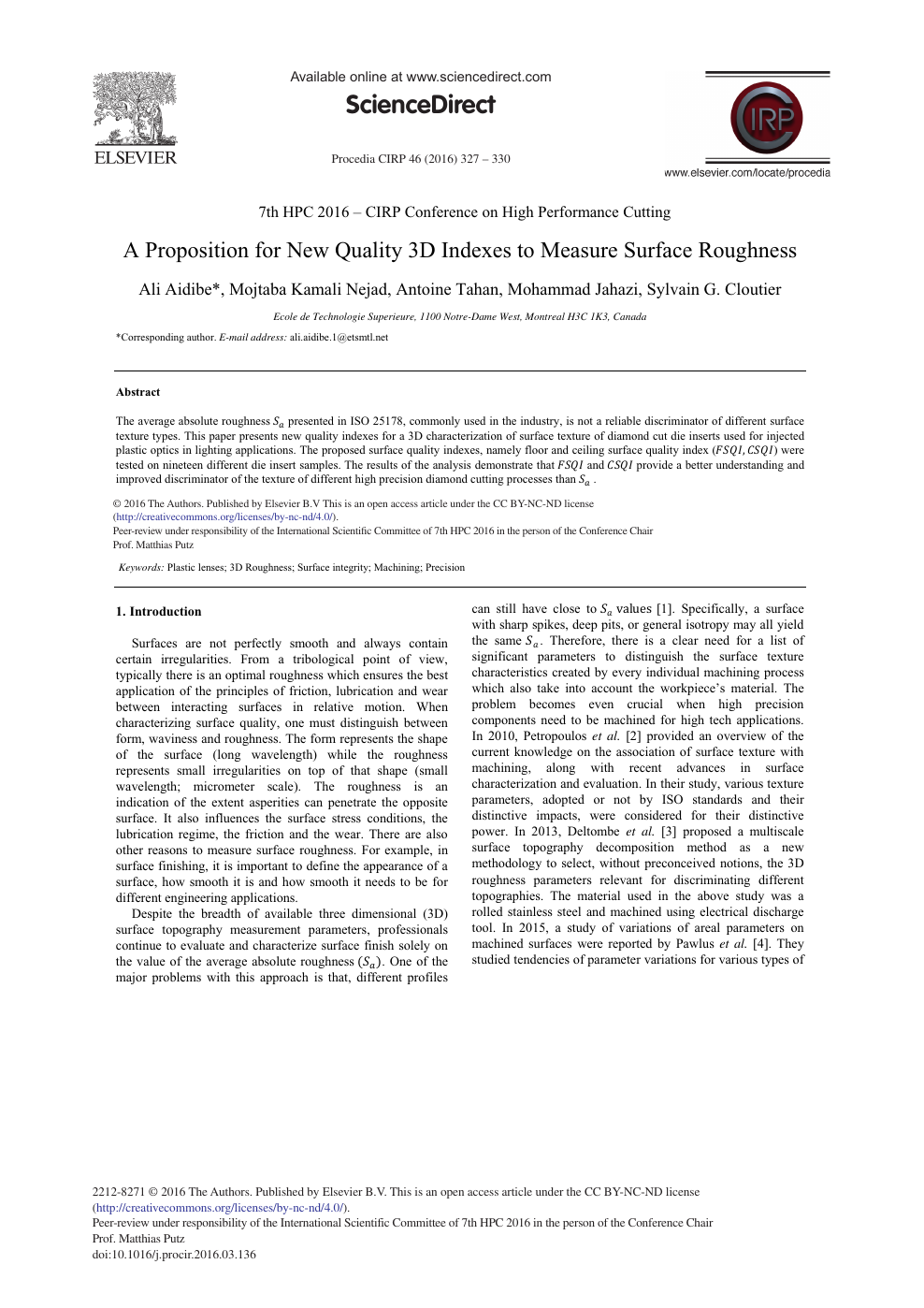 A Proposition for New Quality 3D Indexes to Measure Surface