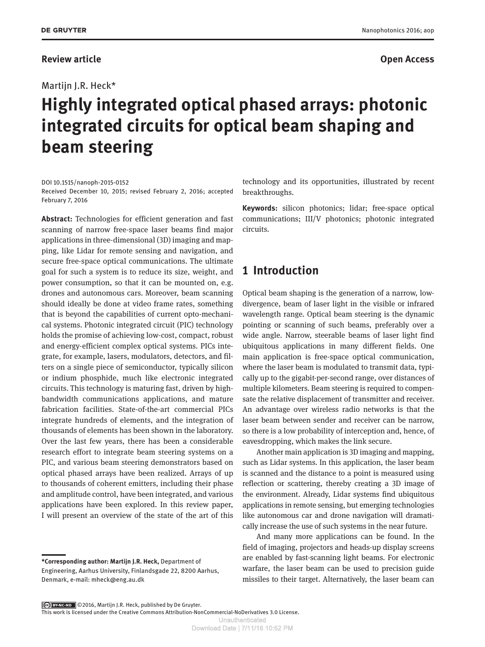 Highly integrated optical phased arrays: photonic integrated