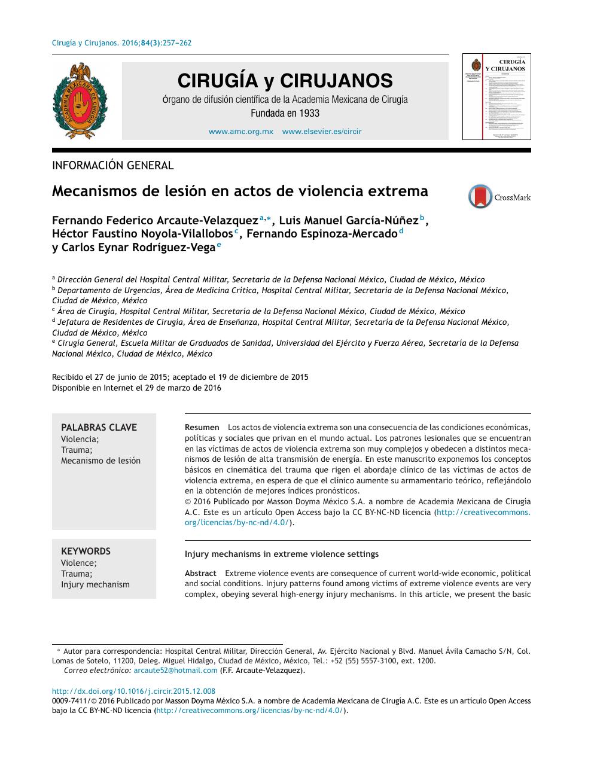 Mecanismos De Lesión En Actos De Violencia Extrema Topic