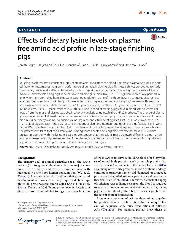 Effects of dietary lysine levels on plasma free amino acid