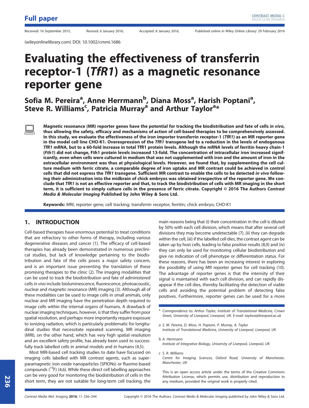 Evaluating The Effectiveness Of Transferrin Receptor 1 TfR1