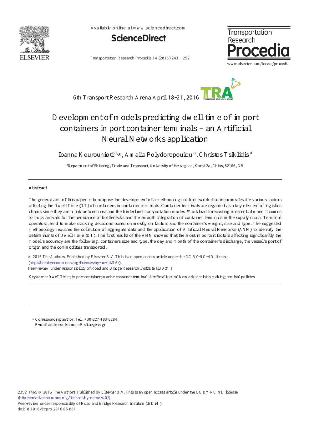 Development of Models Predicting Dwell Time of Import