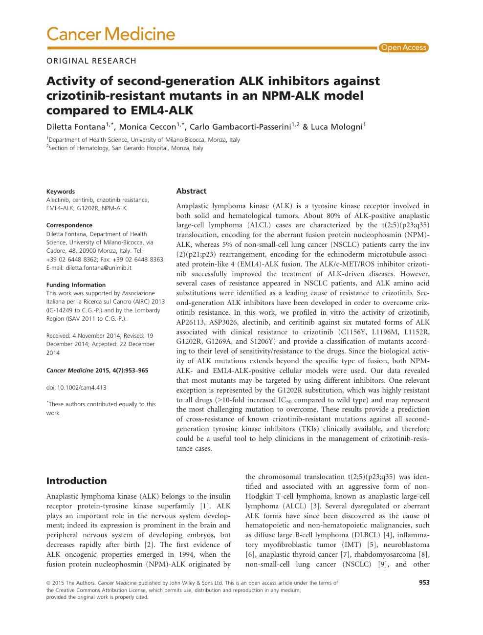 Activity of second-generation ALK inhibitors against