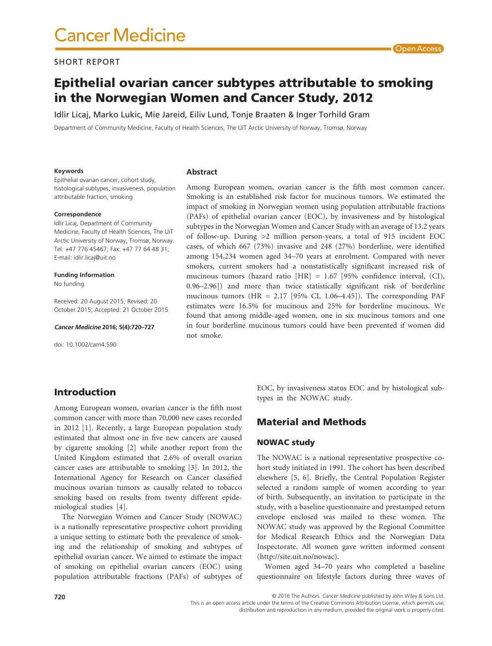 Epithelial Ovarian Cancer Subtypes Attributable To Smoking In The Norwegian Women And Cancer Study 2012 Topic Of Research Paper In Health Sciences Download Scholarly Article Pdf And Read For Free On