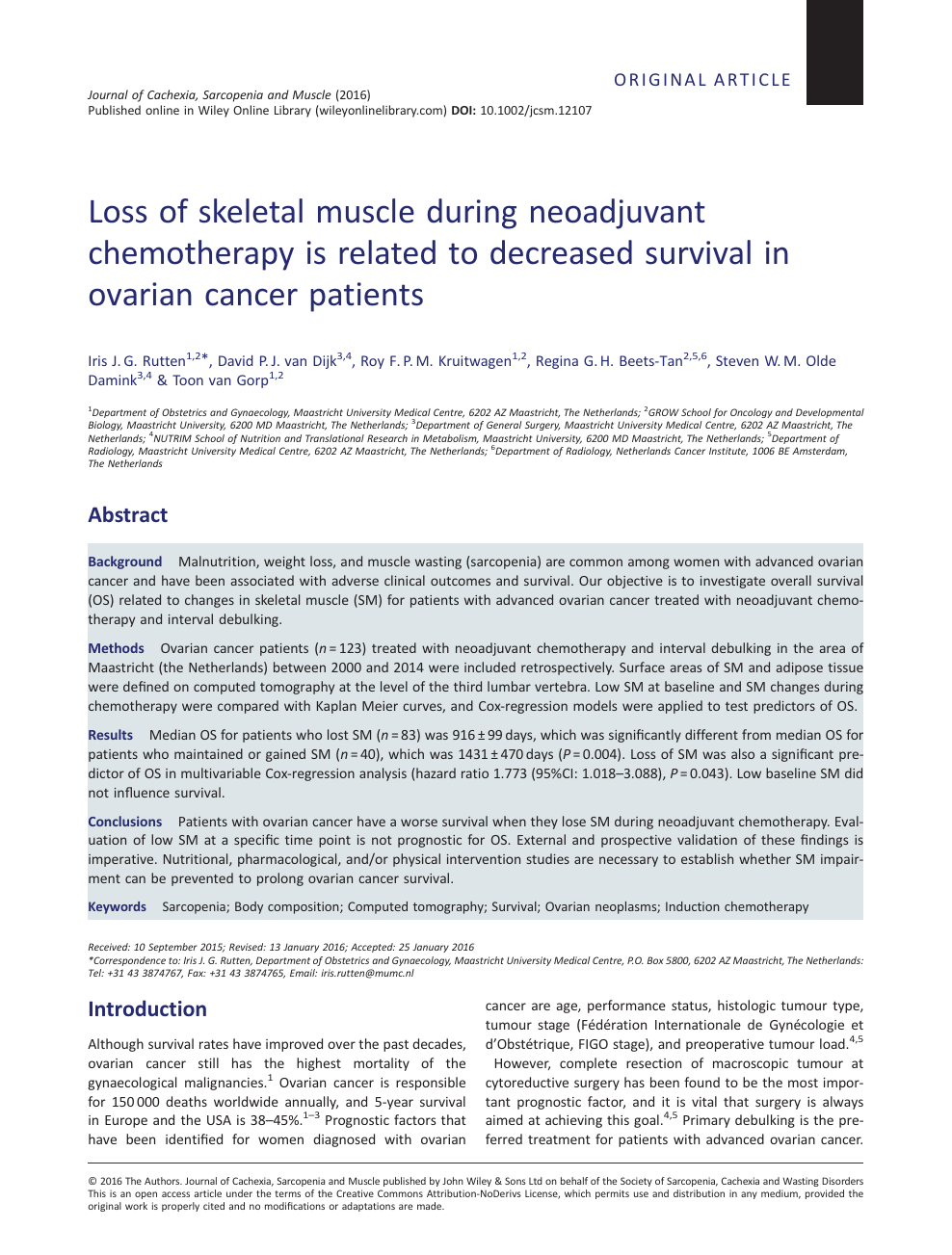 Loss Of Skeletal Muscle During Neoadjuvant Chemotherapy Is Related To Decreased Survival In Ovarian Cancer Patients Topic Of Research Paper In Health Sciences Download Scholarly Article Pdf And Read For Free