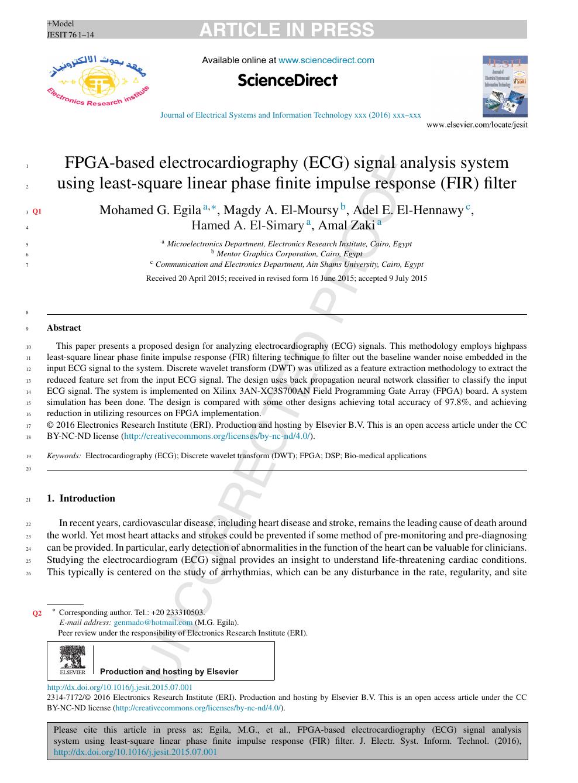 FPGA-based electrocardiography (ECG) signal analysis system using