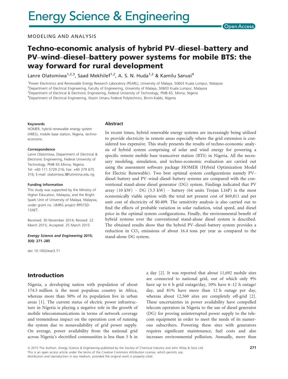 Techno-economic analysis of hybrid PV-diesel-battery and PV-wind