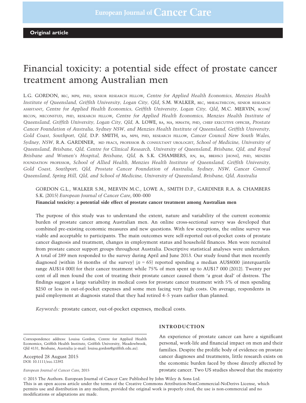Financial Toxicity A Potential Side Effect Of Prostate Cancer