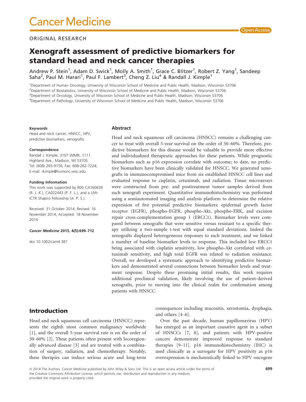 Xenograft assessment of predictive biomarkers for standard head and