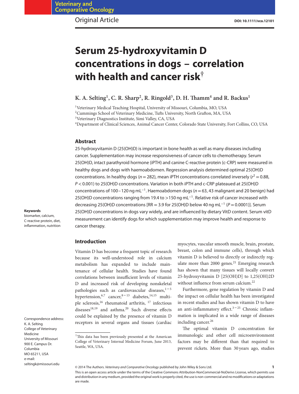Serum 25-hydroxyvitamin D concentrations in dogs