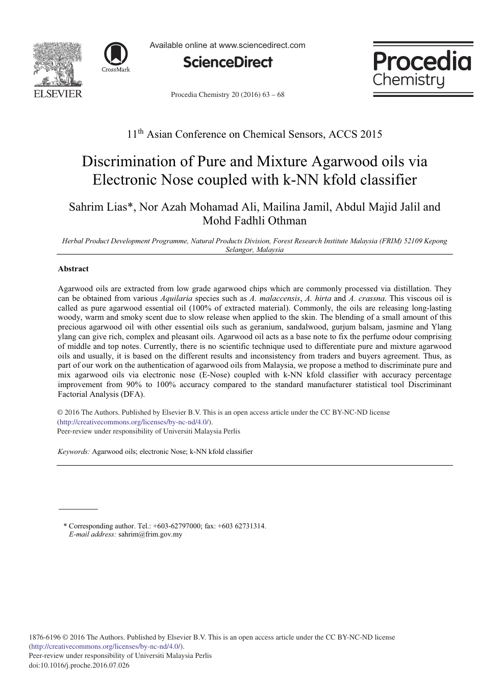 Discrimination of Pure and Mixture Agarwood Oils via Electronic Nose