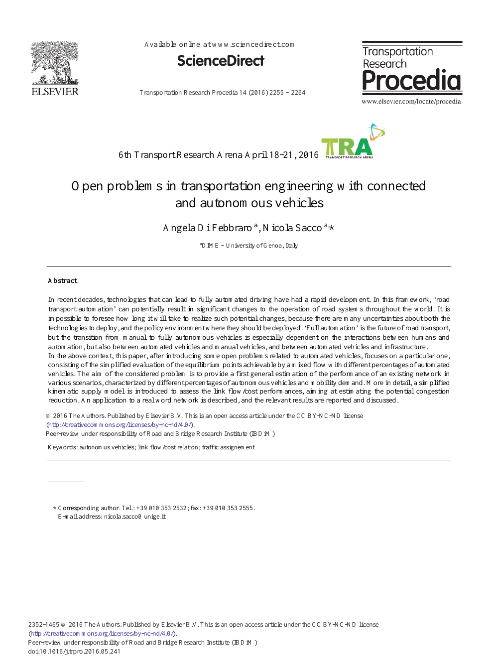 Open Problems in Transportation Engineering with Connected