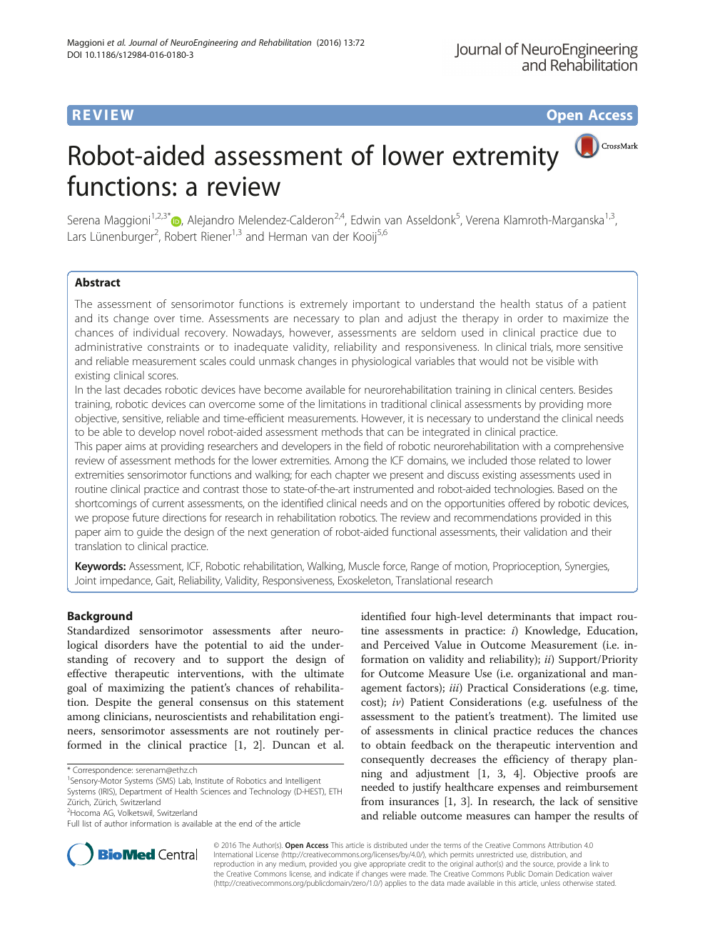 Robot-aided assessment of lower extremity functions: a