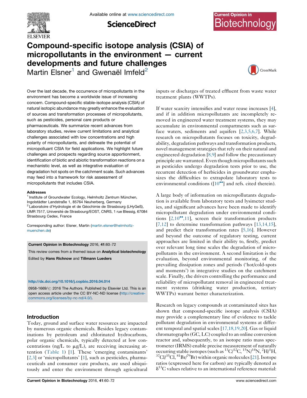 Compound-specific isotope analysis (CSIA) of micropollutants