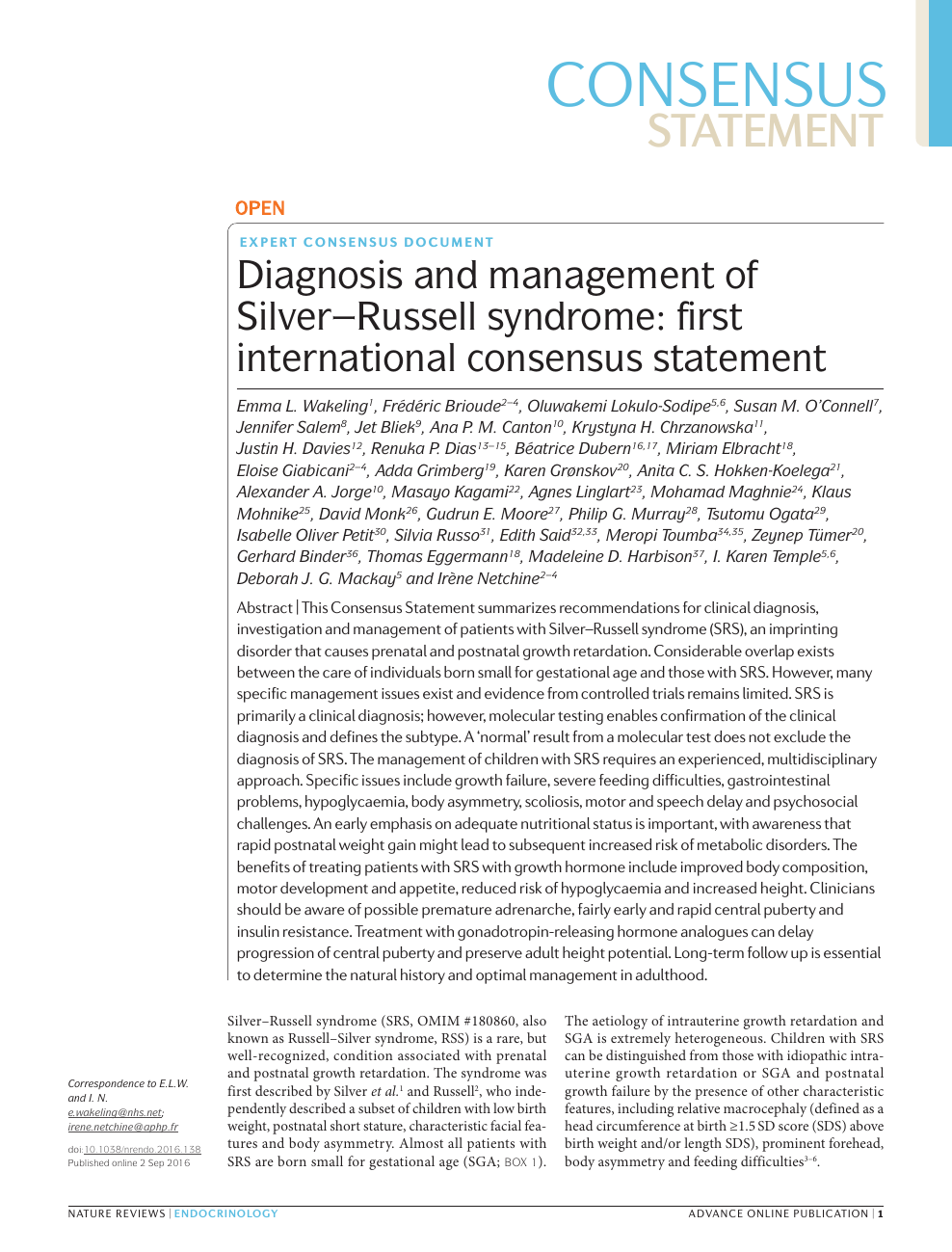 Diagnosis and management of Silver–Russell syndrome: first