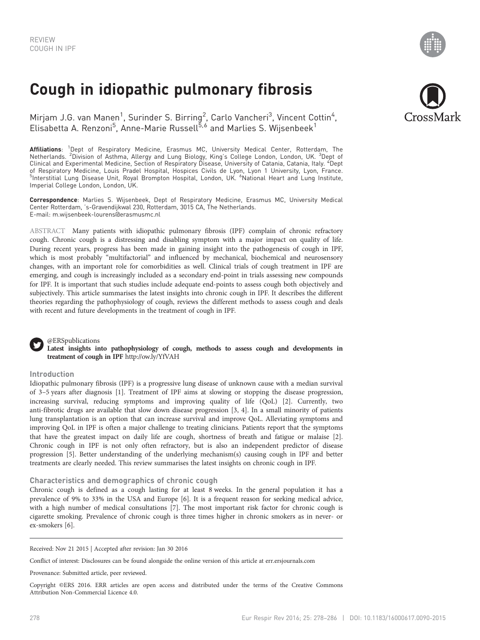 Cough in idiopathic pulmonary fibrosis – topic of research
