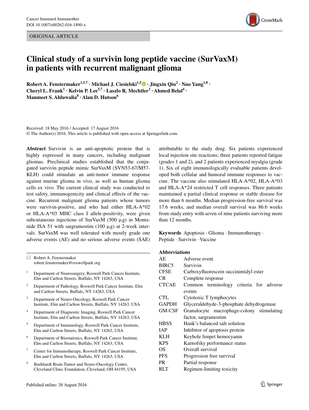 Clinical study of a survivin long peptide vaccine (SurVaxM) in