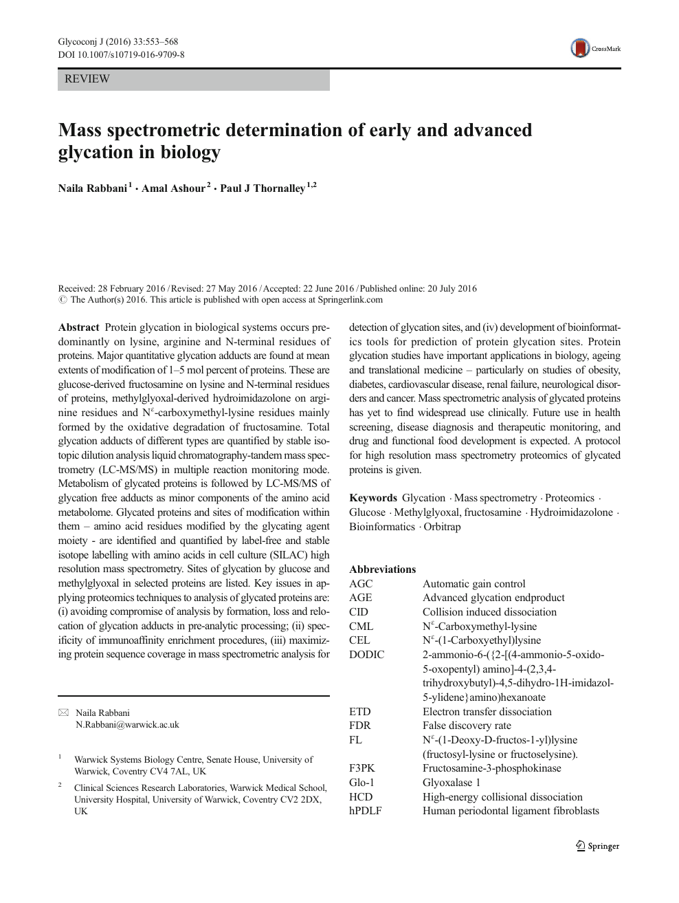 Mass spectrometric determination of early and advanced glycation in