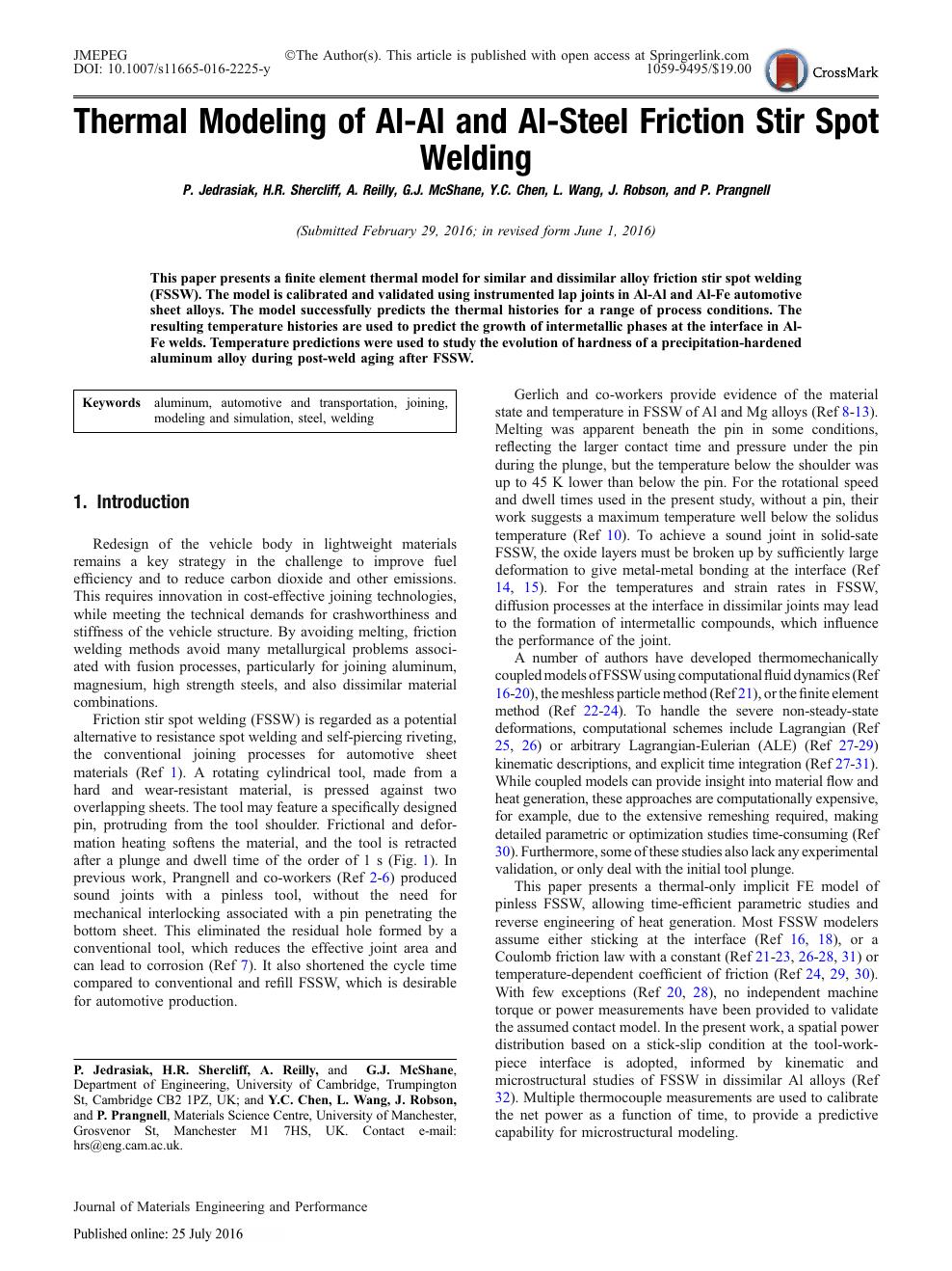 friction stir spot welding (fssw) - a literature review