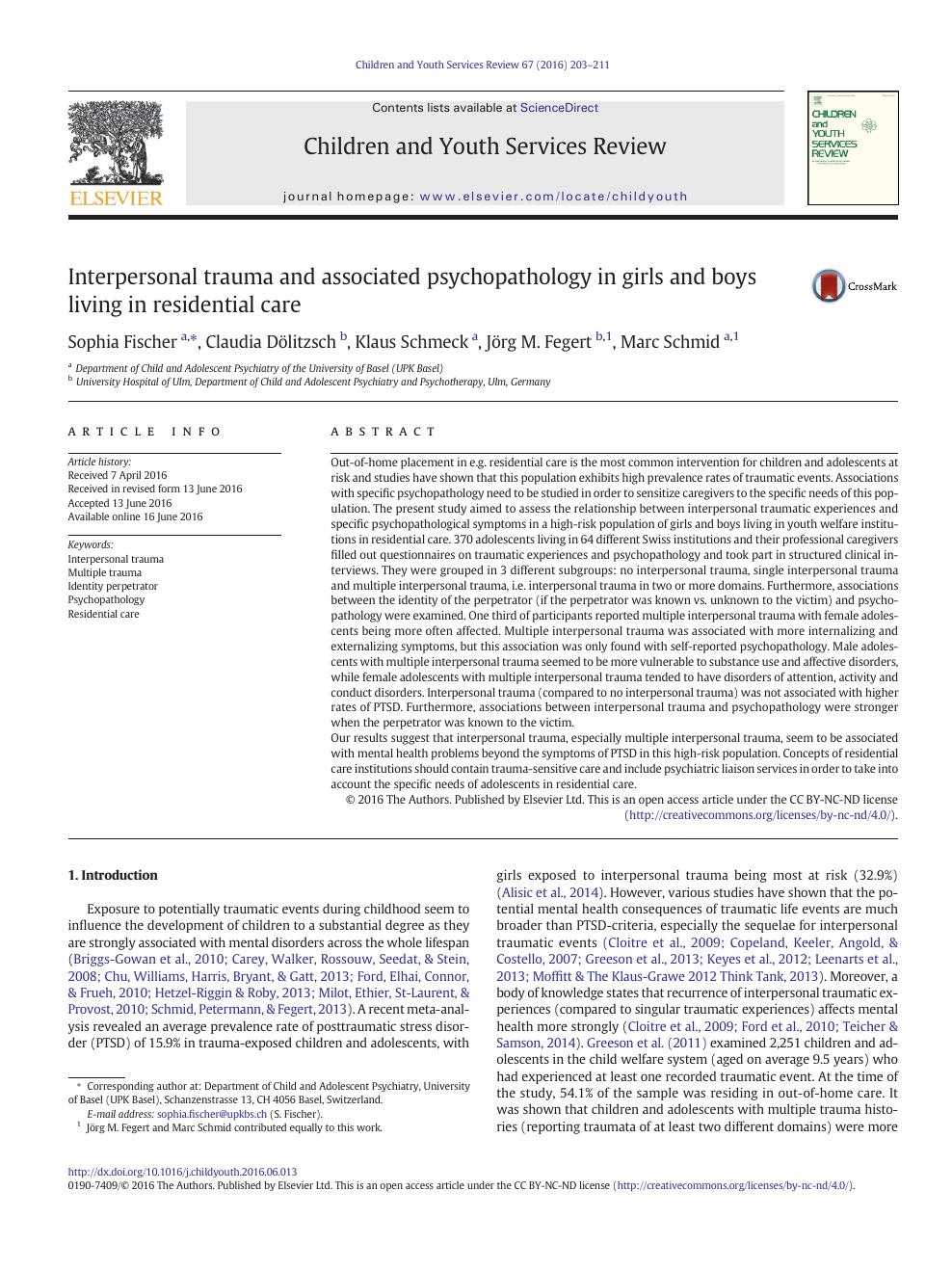 Interpersonal trauma and associated psychopathology in girls