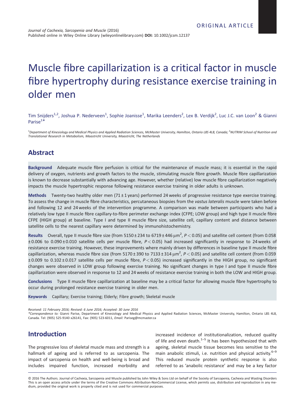 Muscle fibre capillarization is a critical factor in muscle
