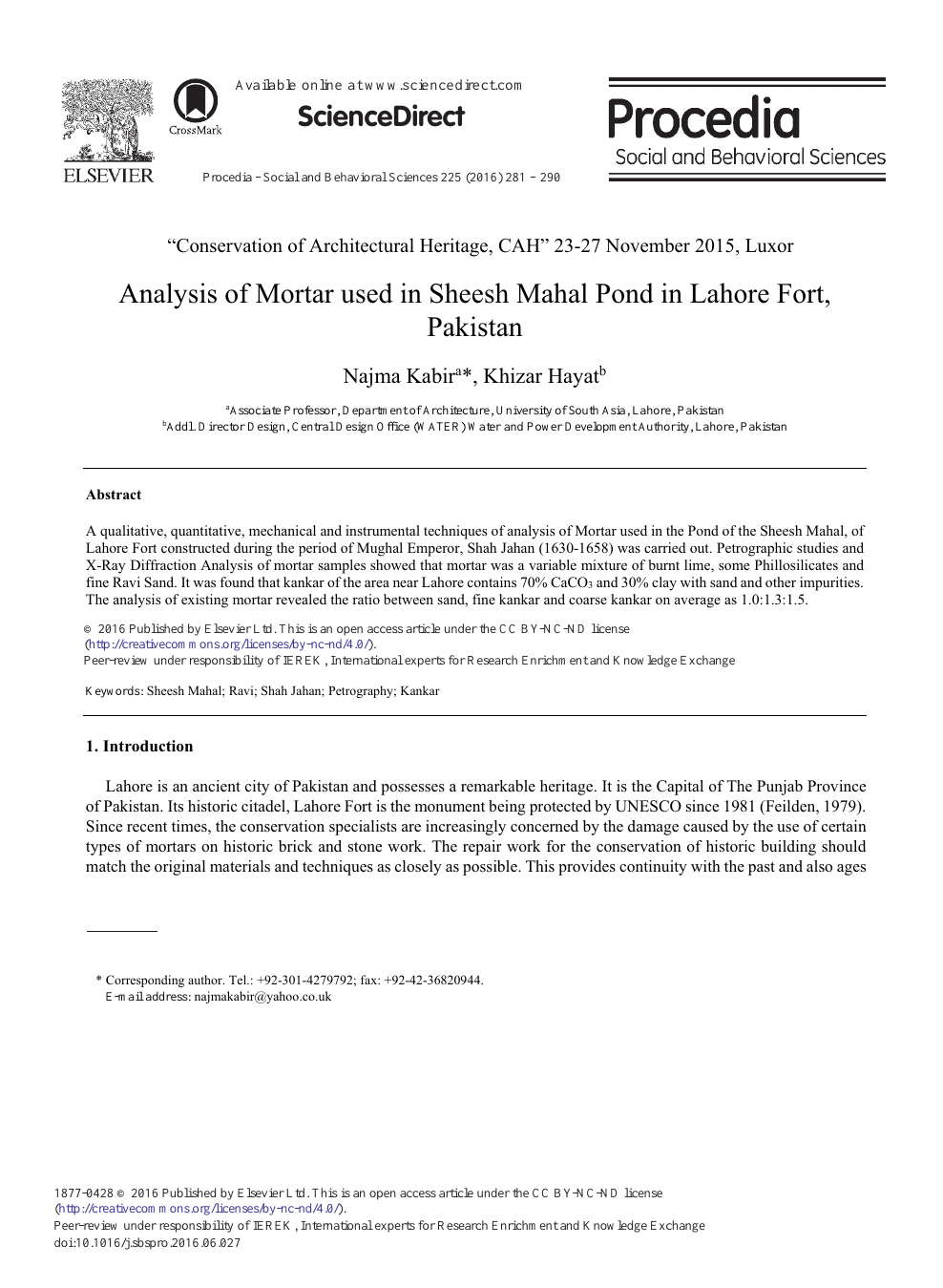 Analysis of Mortar Used in Sheesh Mahal Pond in Lahore Fort