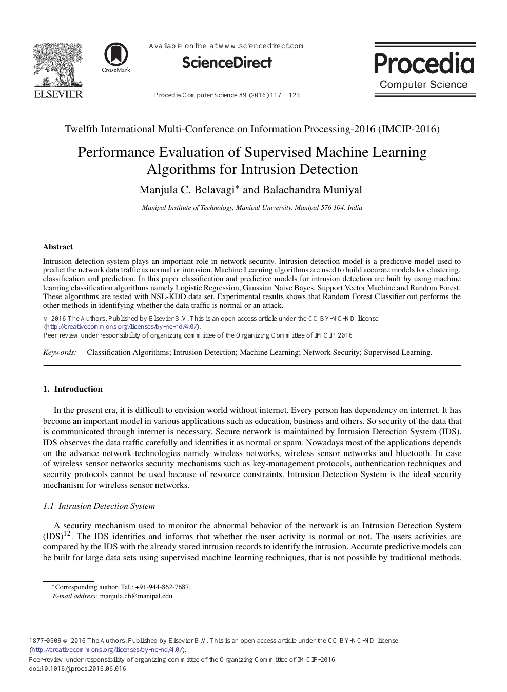 Performance Evaluation of Supervised Machine Learning