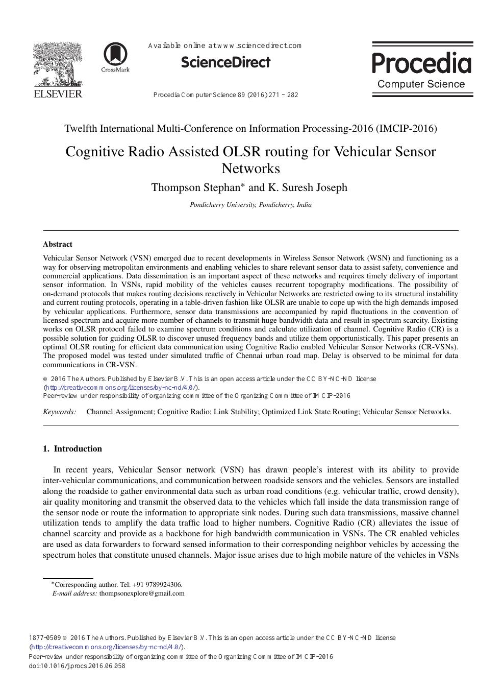 Cognitive Vehicular Networks