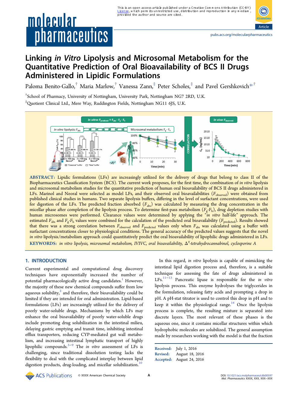 Linking In Vitro Lipolysis And Microsomal Metabolism For The Quantitative Prediction Of Oral Bioavailability Of Bcs Ii Drugs Administered In Lipidic Formulations Topic Of Research Paper In Chemical Sciences Download Scholarly