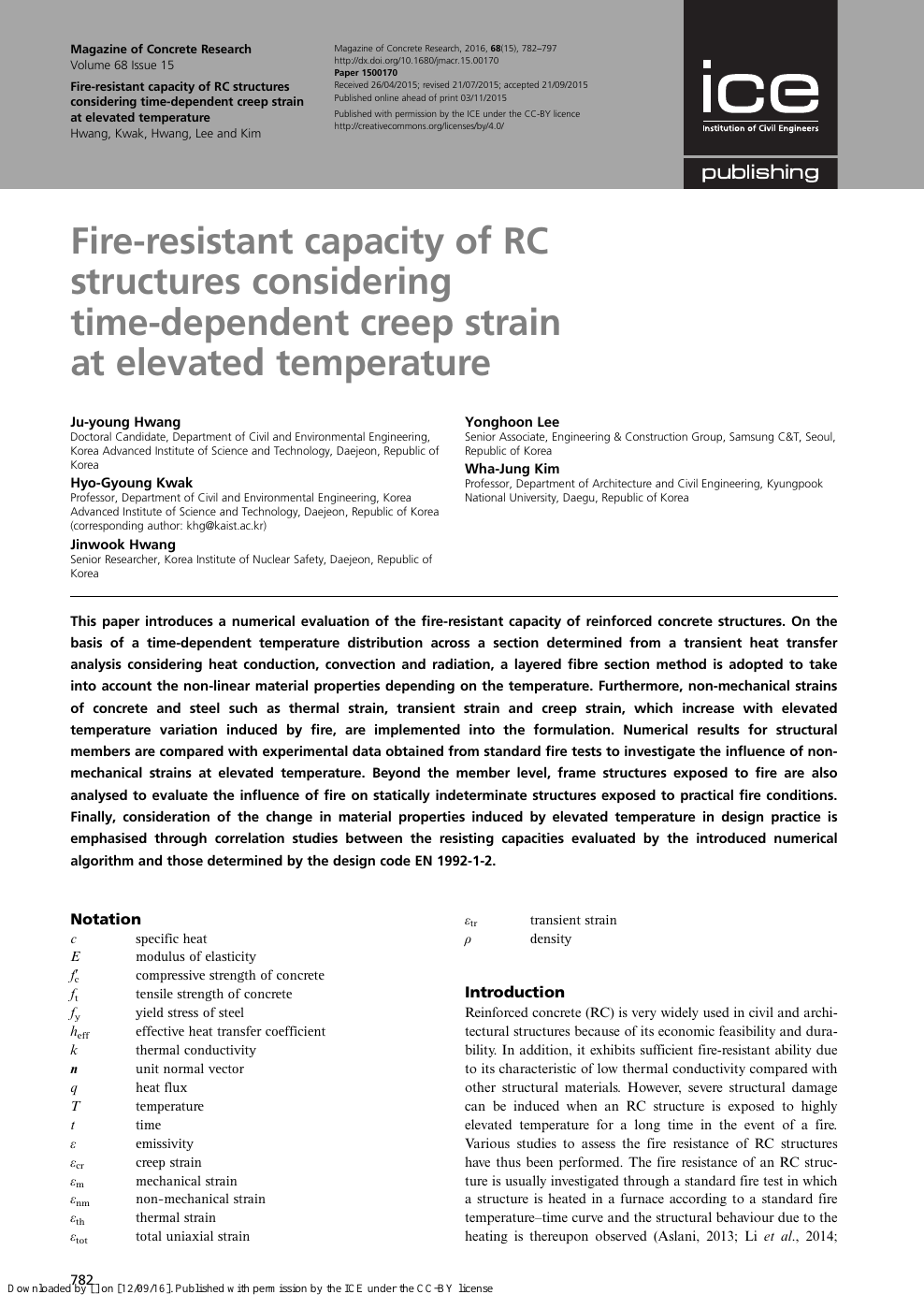 Fire-resistant capacity of RC structures considering time-dependent
