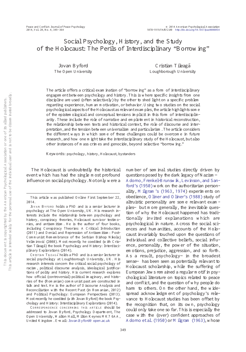Review Perils Of Reading History >> Social Psychology History And The Study Of The Holocaust