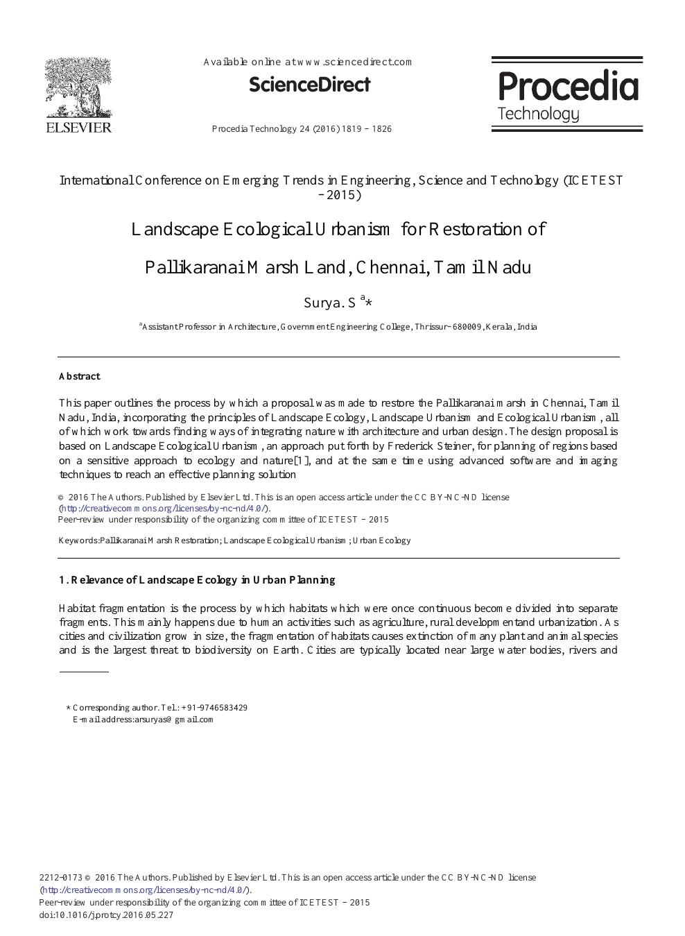Landscape Ecological Urbanism for Restoration of