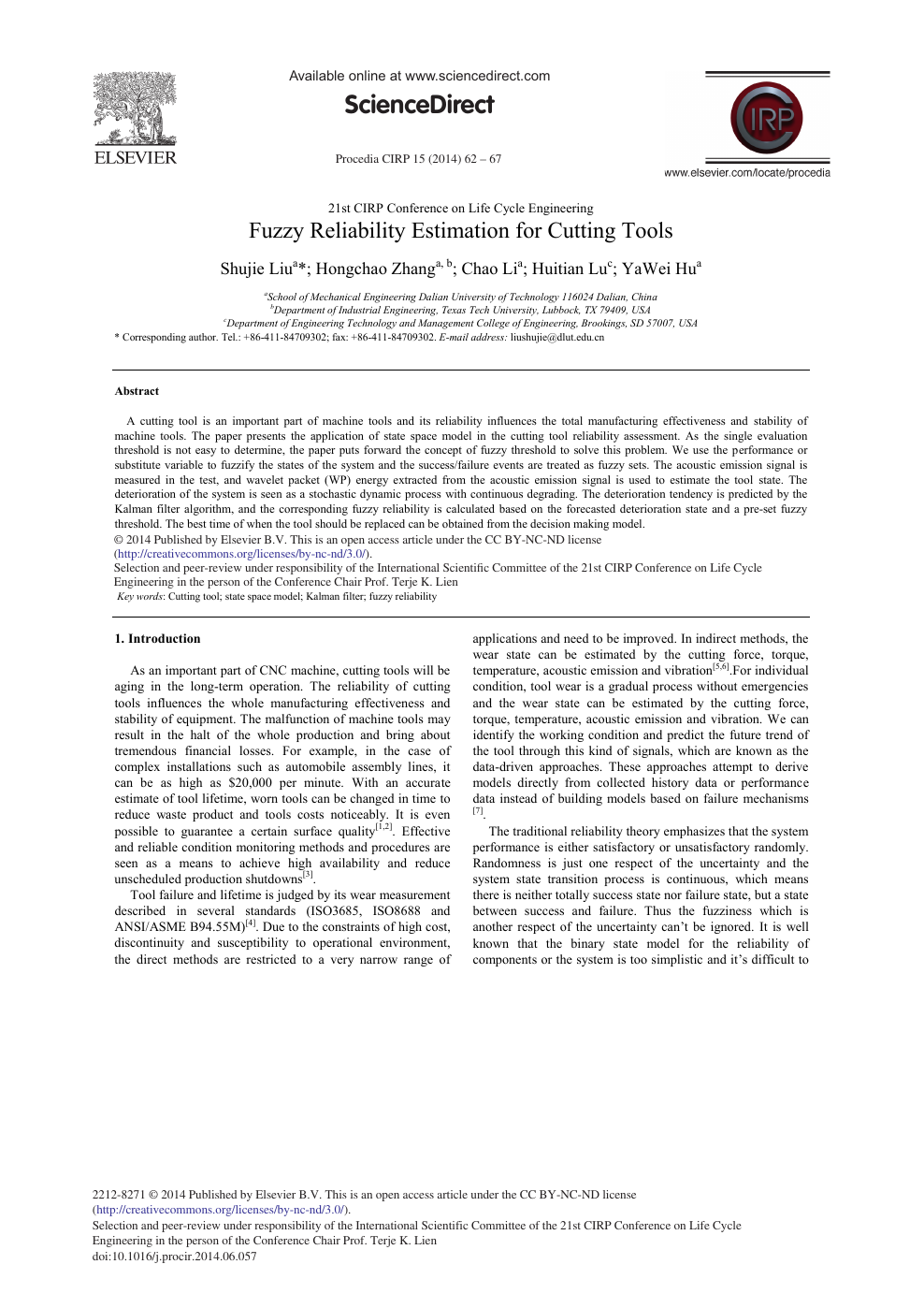 Fuzzy Reliability Estimation for Cutting Tools – topic of