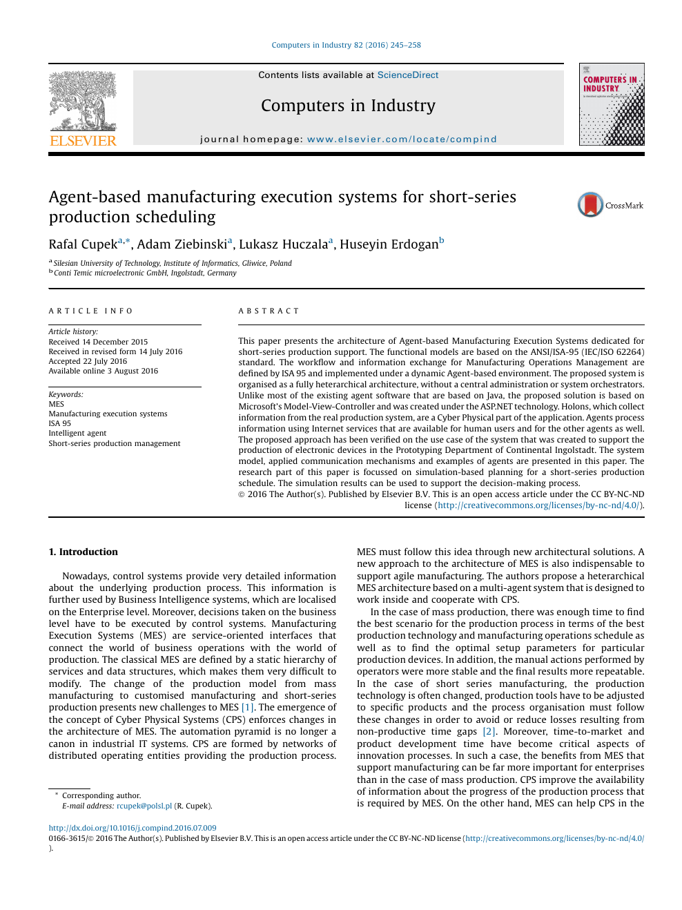 Agent-based manufacturing execution systems for short-series