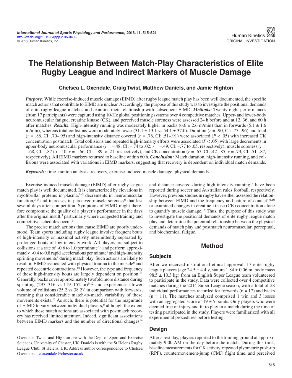 The Relationship between Match-Play Characteristics of Elite