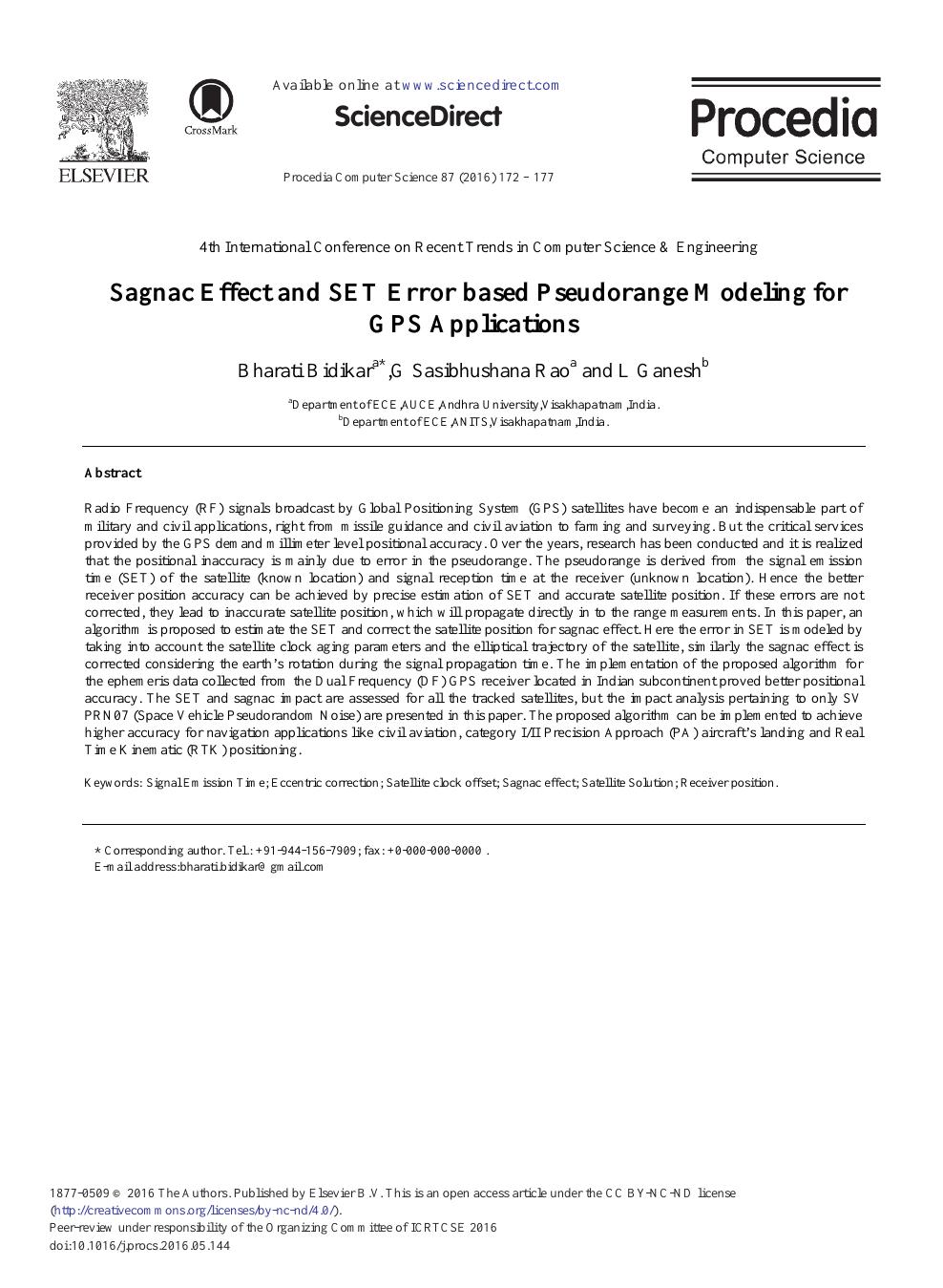 Sagnac Effect and SET Error Based Pseudorange Modeling for GPS