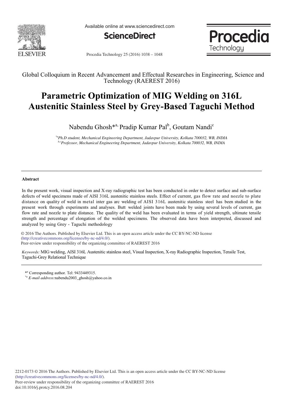 Parametric Optimization of MIG Welding on 316L Austenitic