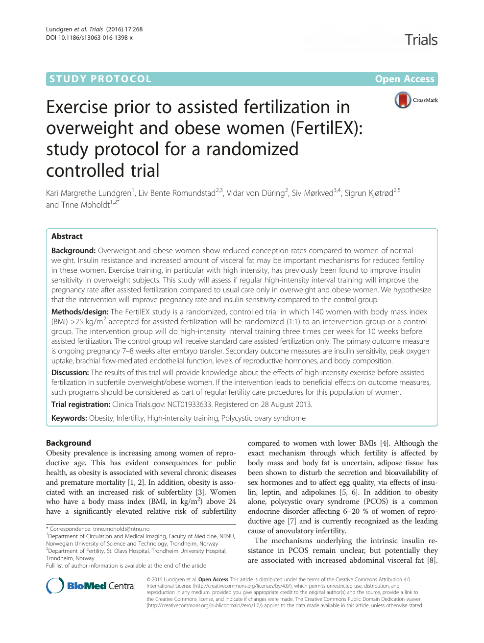 Exercise prior to assisted fertilization in overweight and