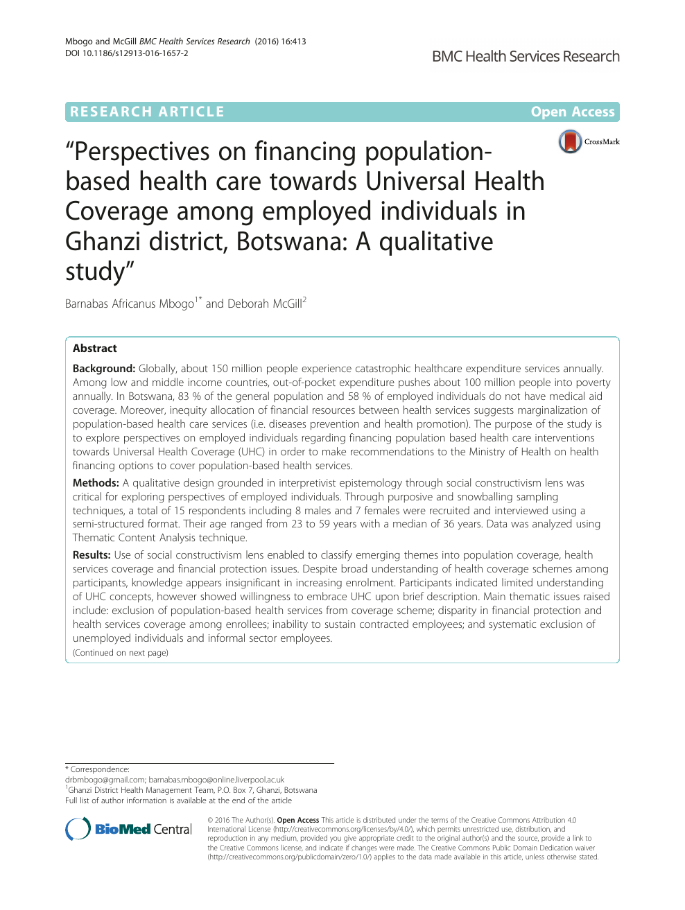 Perspectives on financing population-based health care towards