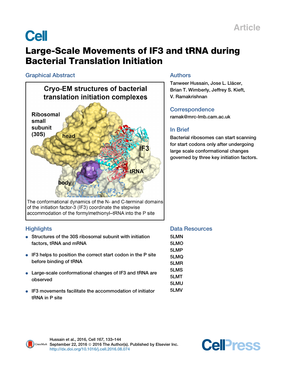Large-Scale Movements of IF3 and tRNA during Bacterial