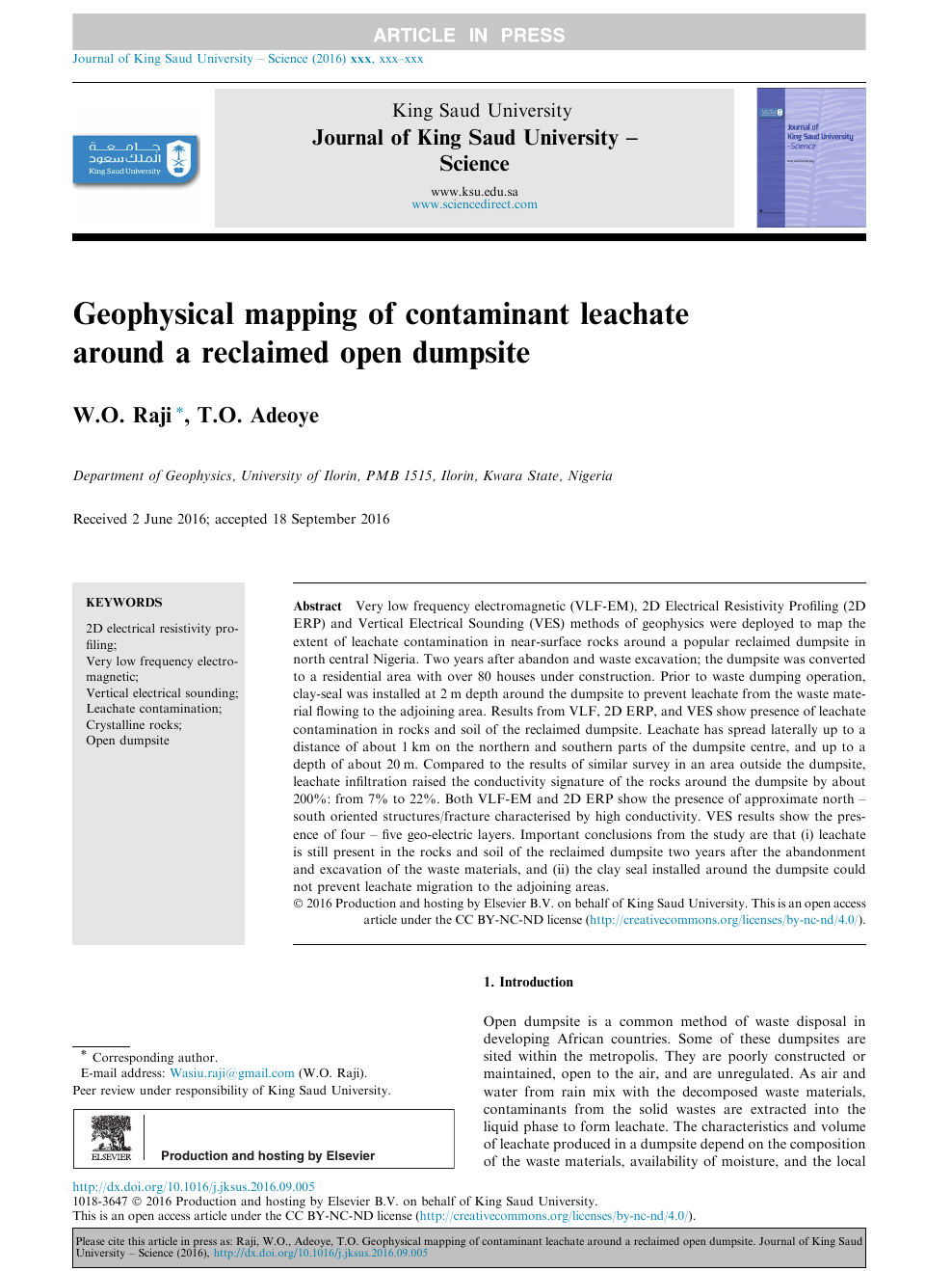 Geophysical mapping of contaminant leachate around a reclaimed open