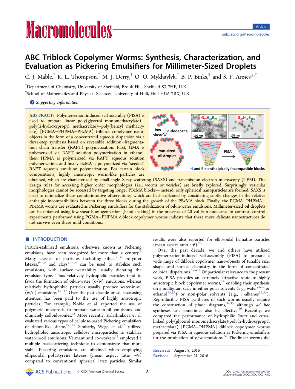 ABC Triblock Copolymer Worms: Synthesis, Characterization