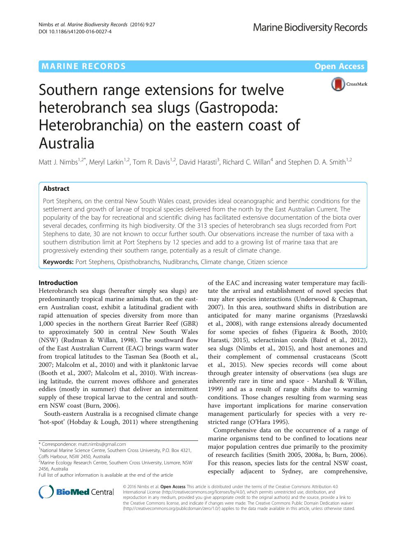 Southern range extensions for twelve heterobranch sea slugs