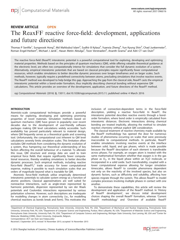 The ReaxFF reactive force-field: development, applications