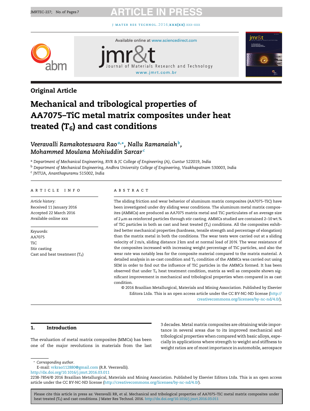 Mechanical and tribological properties of AA7075–TiC metal