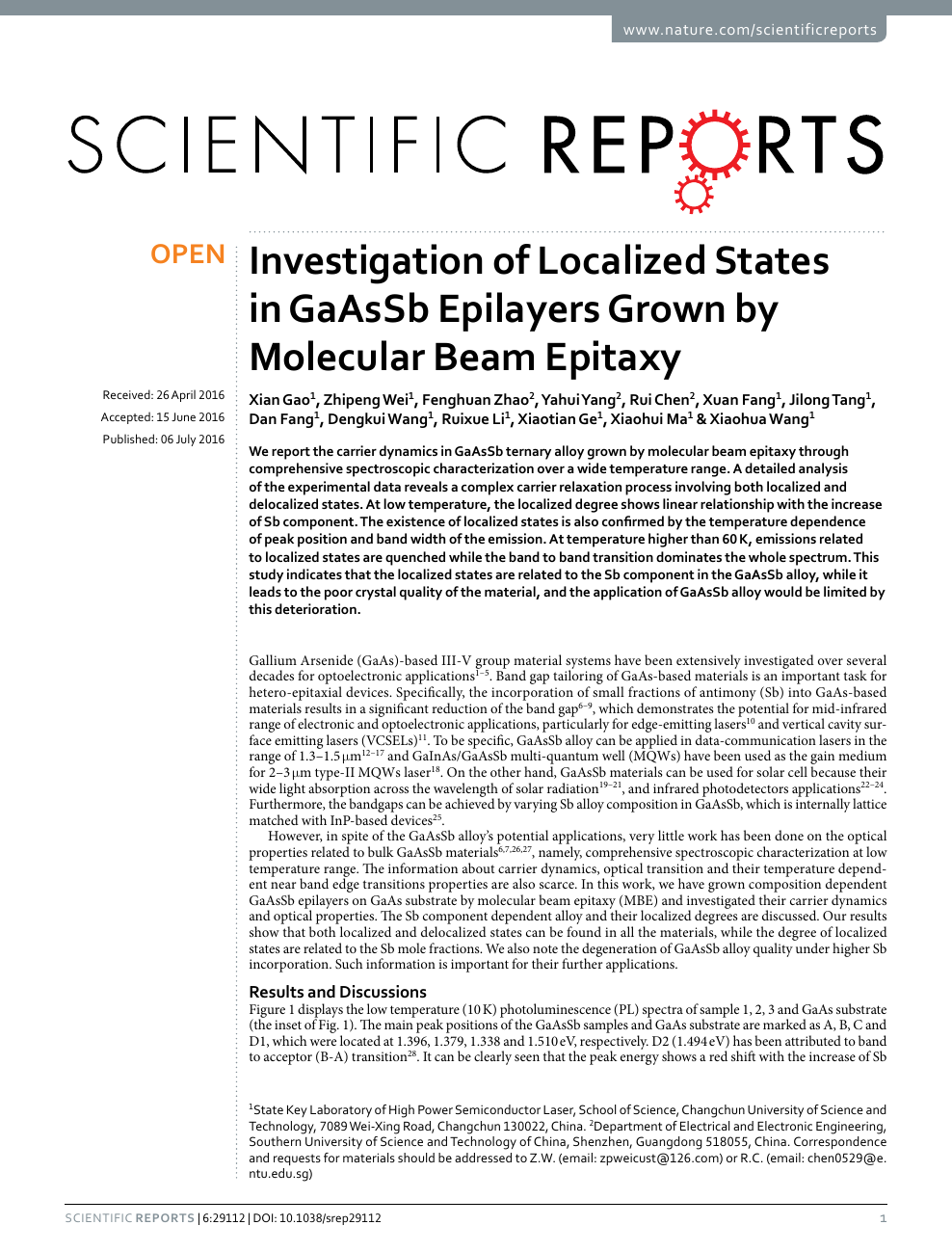 Investigation of Localized States in GaAsSb Epilayers Grown