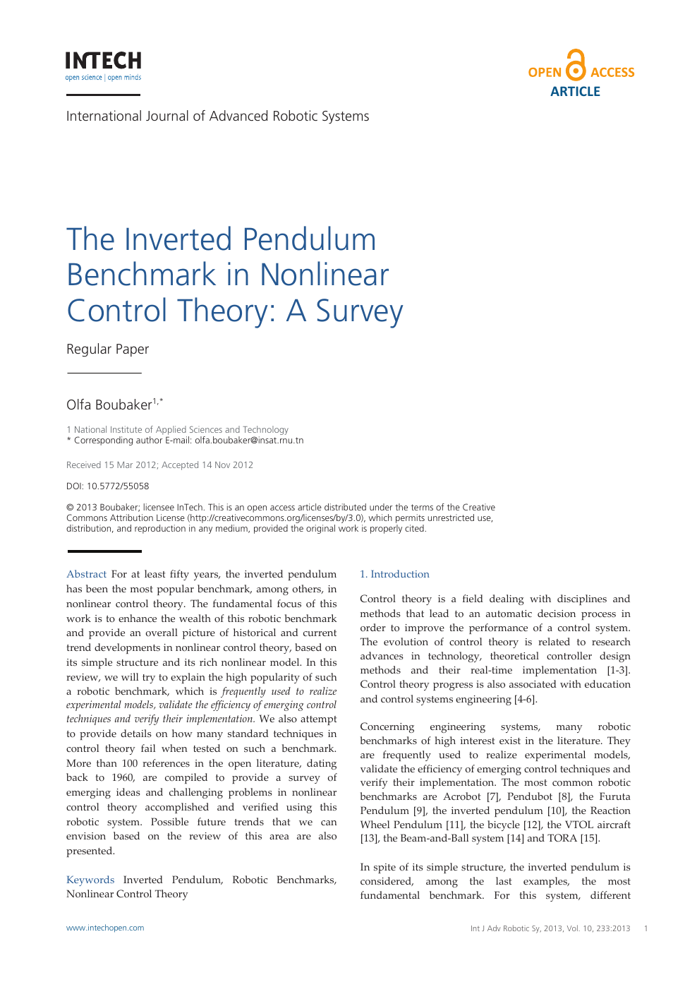 The Inverted Pendulum Benchmark In Nonlinear Control Theory A Survey Topic Of Research Paper In Mathematics Download Scholarly Article Pdf And Read For Free On Cyberleninka Open Science Hub